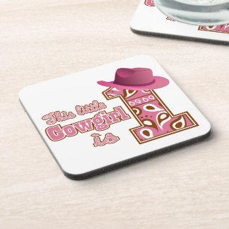 Cowgirl 1st Birthday Drink Coaster