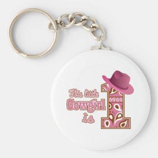 Cowgirl 1st Birthday Keychain