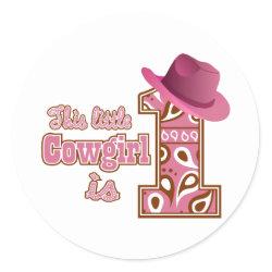 Cowgirl 1st Birthday Round Sticker
