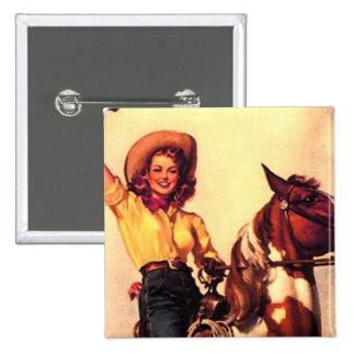 Cowgirl 2 Inch Square Button