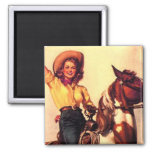 Cowgirl 2 Inch Square Magnet
