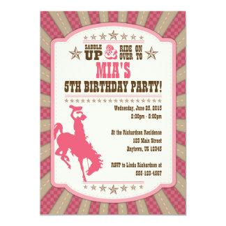 Cowgirl 5th Birthday Party Girl Invitation