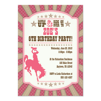 Cowgirl 6th Birthday Party Girl Invitation