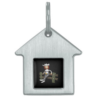 Cowgirl 7 pet name tag