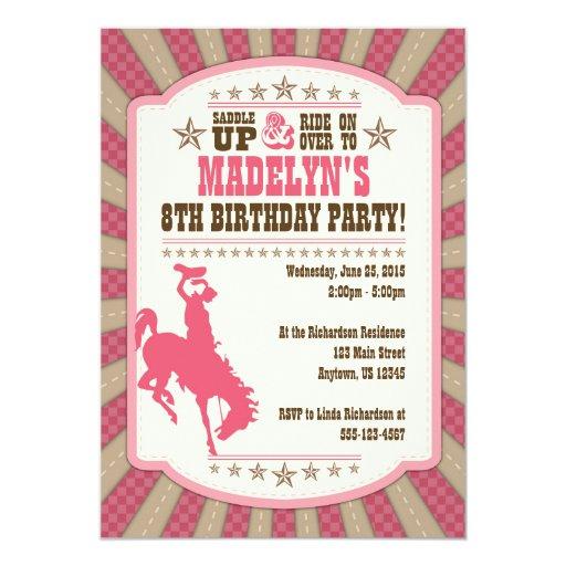 Cowgirl 8th Birthday Party Girl Invitation 5 Quot X 7 Quot Invitation Card Zazzle