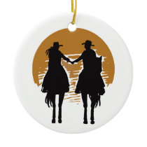Cowgirl and Cowboy Ceramic Ornament