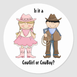 Cowgirl and Cowboy Gender Reveal Sticker