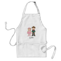 Cowgirl and Cowboy in Love Adult Apron