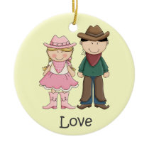 Cowgirl and Cowboy in Love Ceramic Ornament
