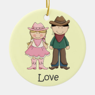 Cowgirl and Cowboy in Love Double-Sided Ceramic Round Christmas Ornament
