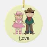 Cowgirl and Cowboy in Love Ornaments