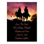 Cowgirl and Cowboy Riding Save the Date Postcard