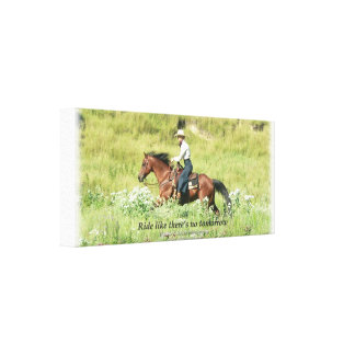 Cowgirl and Galloping bay horse Canvas Print