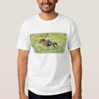 Cowgirl and Galloping bay horse Tshirts