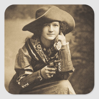 Cowgirl and Her Six Shooter Vintage Square Sticker