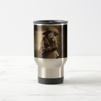 Cowgirl and Her Six Shooter Vintage Travel Mug
