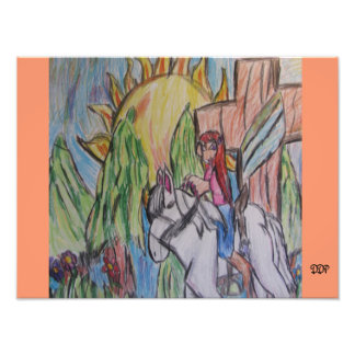 cowgirl and horse and cross photo print