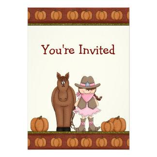 Cowgirl and Horse Autumn Birthday Invitation