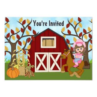 "Cowgirl and Horse Autumn Horse Birthday Invite 4.5"" X 6.25"" Invitation Card"