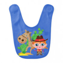 Cowgirl and Horse Bib