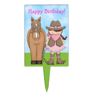 Cowgirl and Horse Birthday Cake Pick
