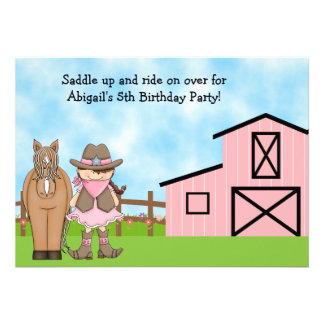 Cowgirl and Horse Birthday Invitation