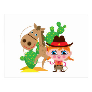 Cowgirl and Horse Postcard