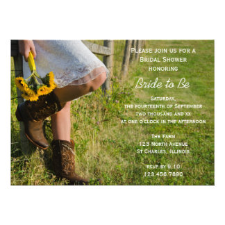 Cowgirl and Sunflowers Country Bridal Shower Custom Announcement