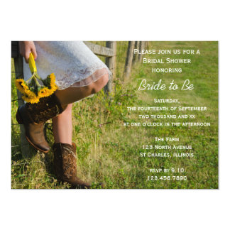 Cowgirl and Sunflowers Country Bridal Shower 5x7 Paper Invitation Card