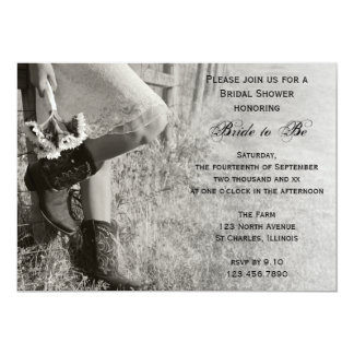 "Cowgirl and Sunflowers Country Bridal Shower 5"" X 7"" Invitation Card"