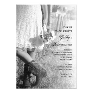 Cowgirl and Sunflowers Country Quinceañera Invite