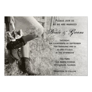 Cowgirl and Sunflowers Country Ranch Wedding Card