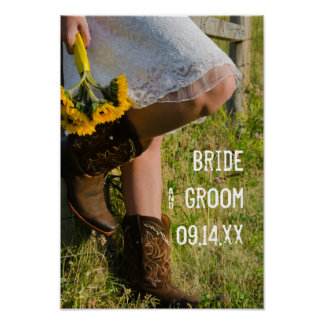 Cowgirl and Sunflowers Country Ranch Wedding Poster