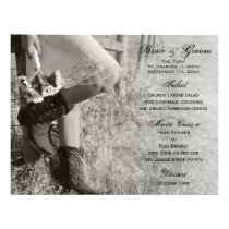 Cowgirl and Sunflowers Country Wedding Menu