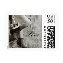 Cowgirl and Sunflowers Country Wedding Postage
