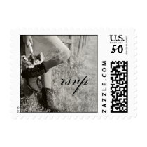 Cowgirl and Sunflowers Country Wedding RSVP Stamp