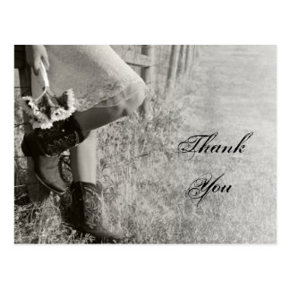 Cowgirl and Sunflowers Country Wedding Thank You Postcard