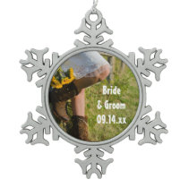 Cowgirl and Sunflowers Country Western Wedding Snowflake Pewter Christmas Ornament