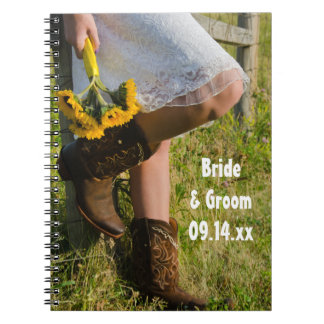 Cowgirl and Sunflowers Country Western Wedding Spiral Notebook