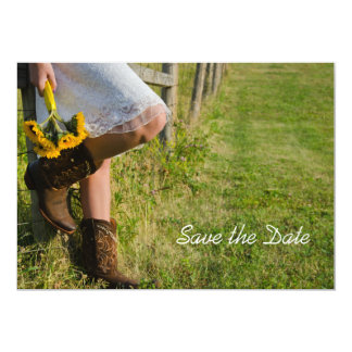 Cowgirl and Sunflowers Wedding Save the Date 5x7 Paper Invitation Card