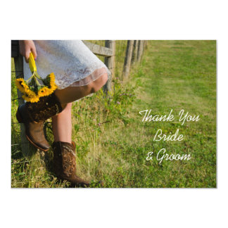 Cowgirl and Sunflowers Western Thank You Notes Card