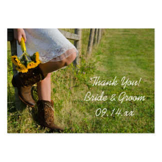 Cowgirl and Sunflowers Western Wedding Favor Tags Large Business Card