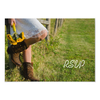 Cowgirl and Sunflowers Western Wedding RSVP Card