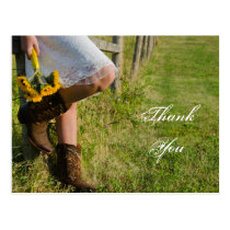 Cowgirl and Sunflowers Western Wedding Thank You Postcard