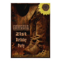 Cowgirl Any Age Birthday Rustic Country Western Card