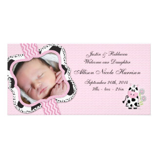 Cowgirl Baby Announcement with Chevron Print Customized Photo Card