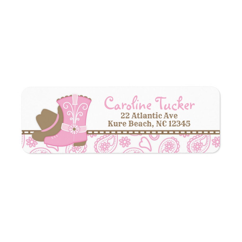 Cowgirl Baby Shower Address Label pink and brown
