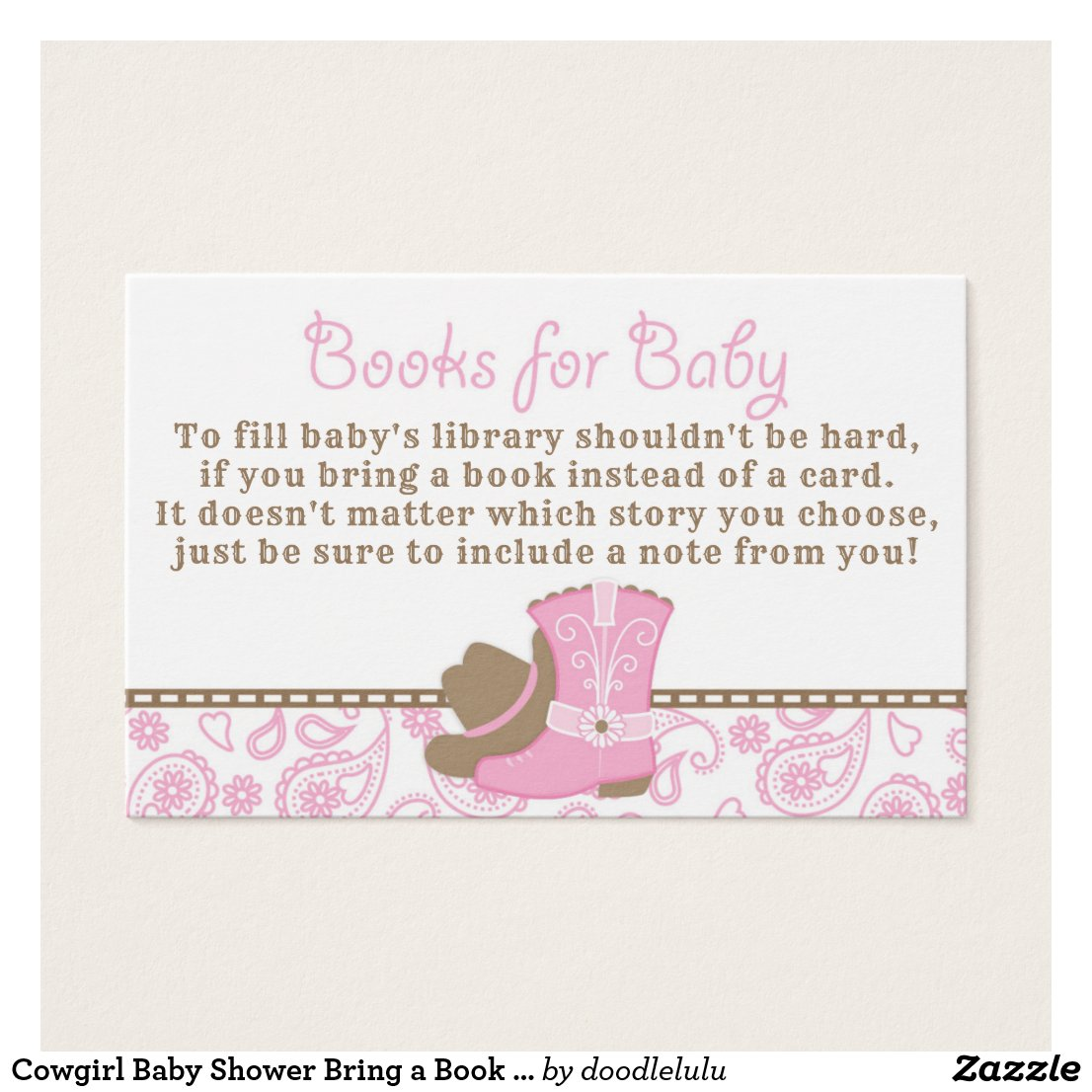 Cowgirl Baby Shower Bring a Book Request Card