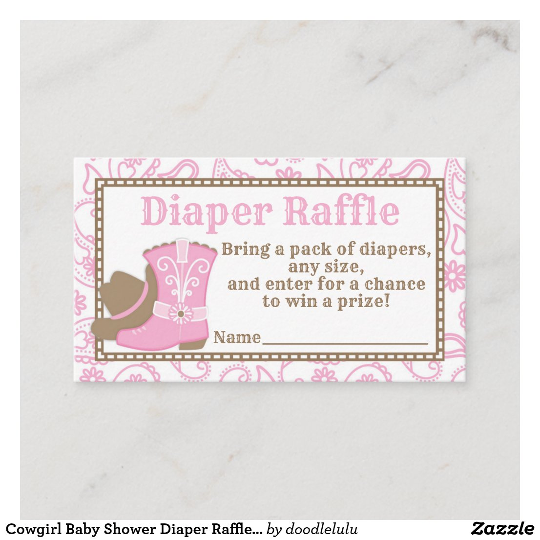 Cowgirl Baby Shower Diaper Raffle Ticket pink Enclosure Card
