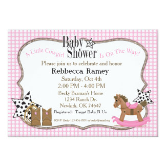 Cowgirl Baby Shower in Pink Plaids Card